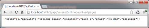 Inline count json